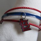 St. Louis Cardinals Triple Bangle Bracelet w/ Enamel Logo Charm