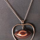 Chicago Bears Necklace w/ Football in Heart Charm Cute