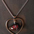 Tampa Bay Buccaneers Necklace w/ Football in Heart Charm Cute