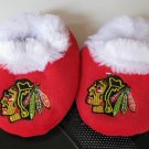 Chicago Blackhawks Fuzzy Baby Slippers Booties 12-24 Months
