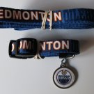 Edmonton Oilers Pet Dog Leash Set Collar ID Tag Small