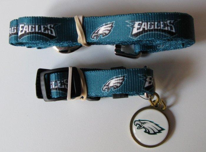 Philadelphia Eagles Pet Dog Leash Set Collar ID Tag Medium