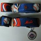 New York Mets Pet Dog Leash Set Collar ID Tag Medium
