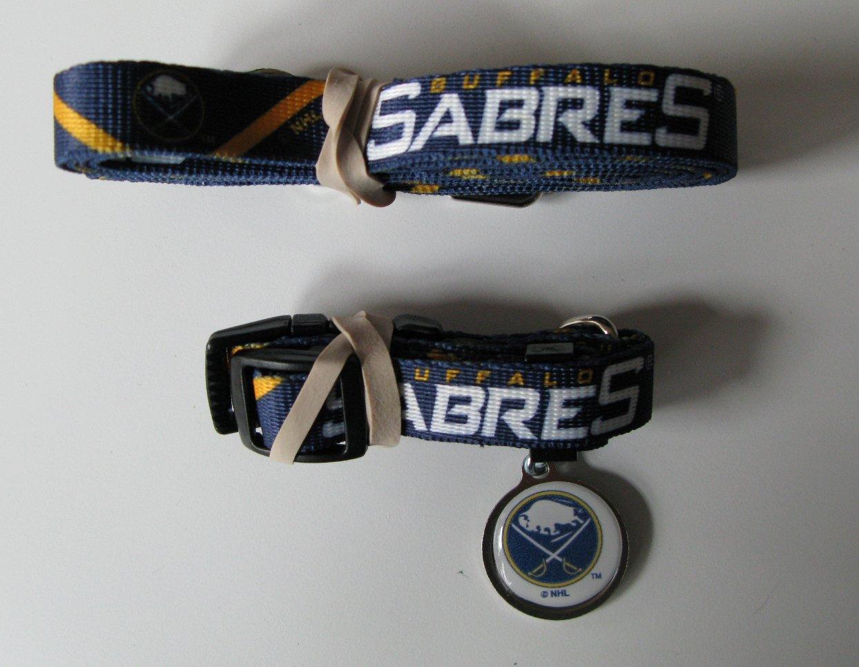 Buffalo Sabres Pet Dog Leash Set Collar ID Tag Size Small