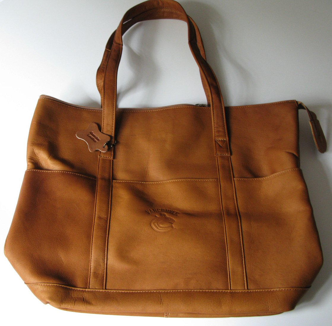 Vancouver Canucks Leather Tote Bag Purse Tan