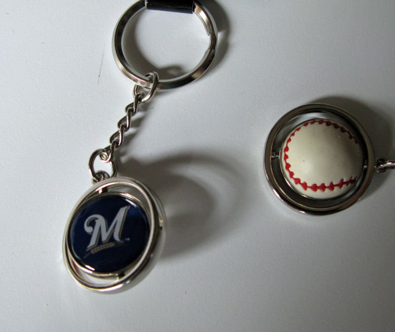 Milwaukee Brewers Rubber Baseball Spinner Keychain Key Ring
