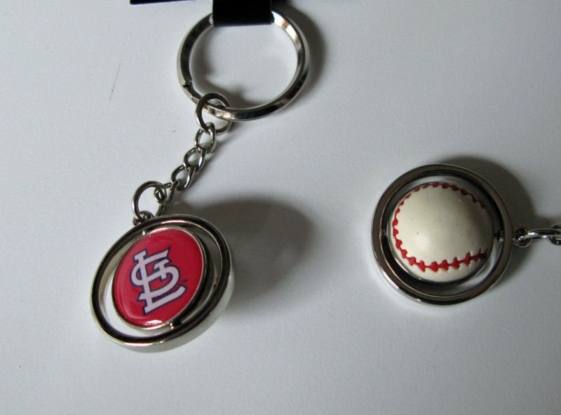 St. Louis Cardinals Rubber Baseball Spinner Keychain Key Ring