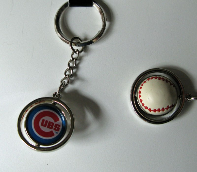 Chicago Cubs Rubber Baseball Spinner Keychain Key Ring