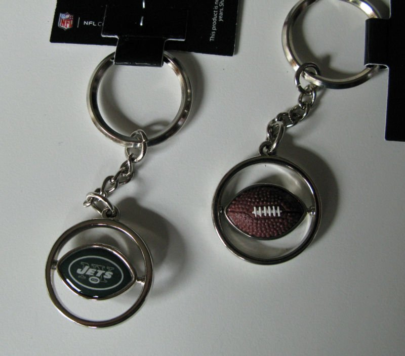 New York Jets Rubber Football Spinner Keychain Key Ring