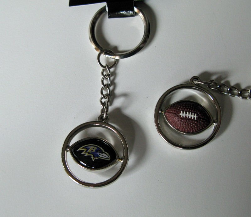 Baltimore Ravens Rubber Football Spinner Keychain Key Ring