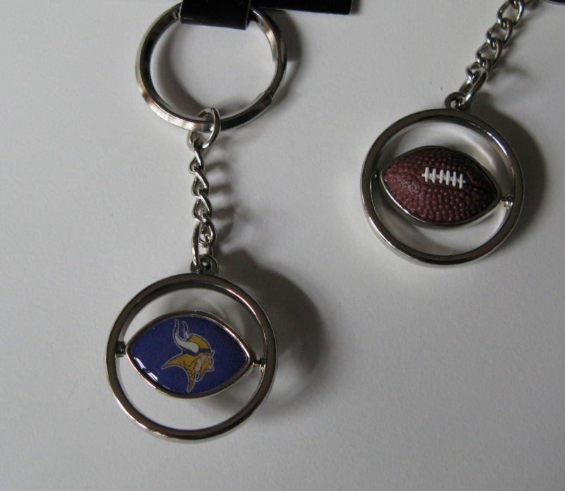 Minnesota Vikings Rubber Football Spinner Keychain Key Ring