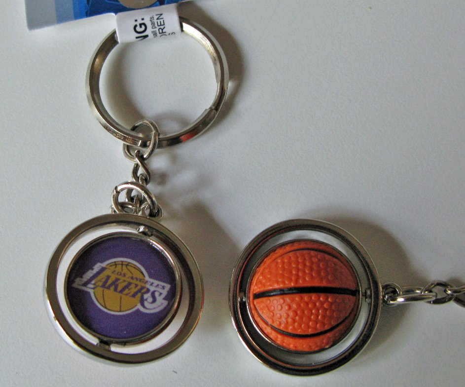 Los Angeles Lakers Rubber Basketball Spinner Keychain Key Ring
