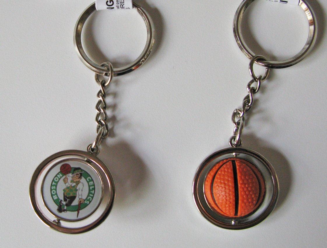 Boston Celtics Rubber Basketball Spinner Keychain Key Ring