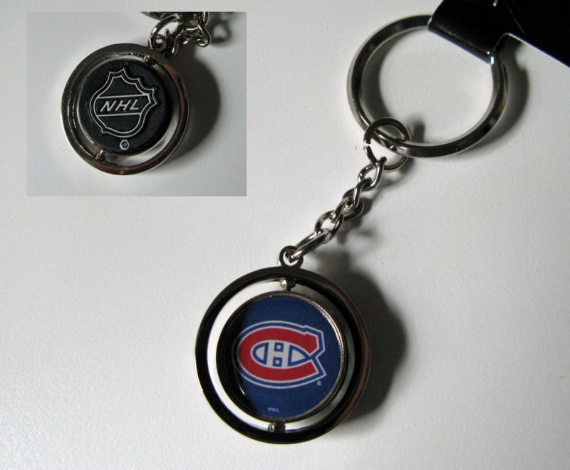 Montreal Canadiens Rubber Puck Spinner Keychain Key Ring