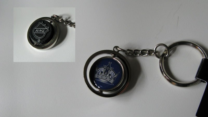 Los Angeles Kings Rubber Puck Spinner Keychain Key Ring