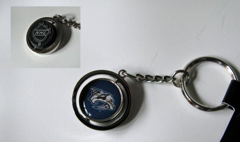 Nashville Predators Rubber Puck Spinner Keychain Key Ring