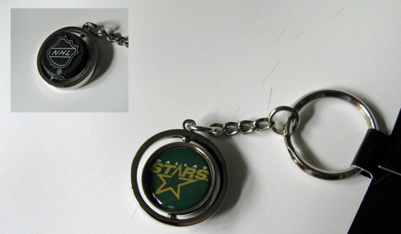 Dallas Stars Rubber Puck Spinner Keychain Key Ring