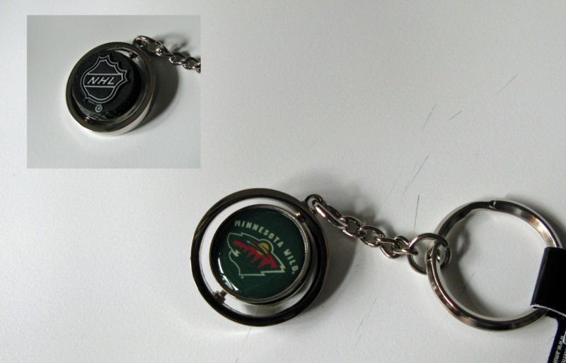 Minnesota Wild Rubber Puck Spinner Keychain Key Ring