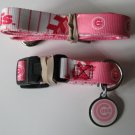 Chicago Cubs PINK Pet Set Dog Leash Collar ID Tag Small