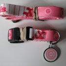 Chicago Cubs PINK Pet Set Dog Leash Collar ID Tag Large
