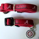 Alabama University Crimson Tide Pet Dog Leash Set Collar ID Tag XS