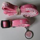 Philadelphia Phillies PINK Pet Set Dog Leash Collar ID Tag Large