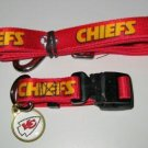 Kansas City Chiefs Pet Dog Leash Set Collar ID Tag XS