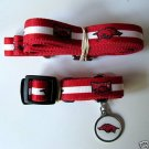Arkansas University Razorbacks Pet Dog Leash Set Collar ID Tag XS