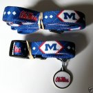 Mississippi University Rebels Pet Dog Leash Set Collar ID Tag XS