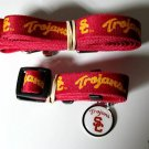 Southern California University USC Trojans Pet Dog Leash Set Collar ID Tag XS