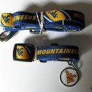 West Virginia University Mountaineers Pet Dog Leash Set Collar ID Tag XS