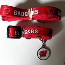 Wisconsin University Badgers Pet Dog Leash Set Collar ID Tag XS