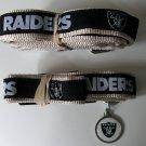 Oakland Raiders Premium Pet Set Dog Leash Collar ID Tag Medium