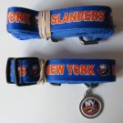 New York Islanders Pet Dog Leash Set Collar ID Tag Size Medium