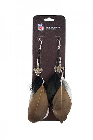 New Orleans Saints Feather Earrings w/ Charms