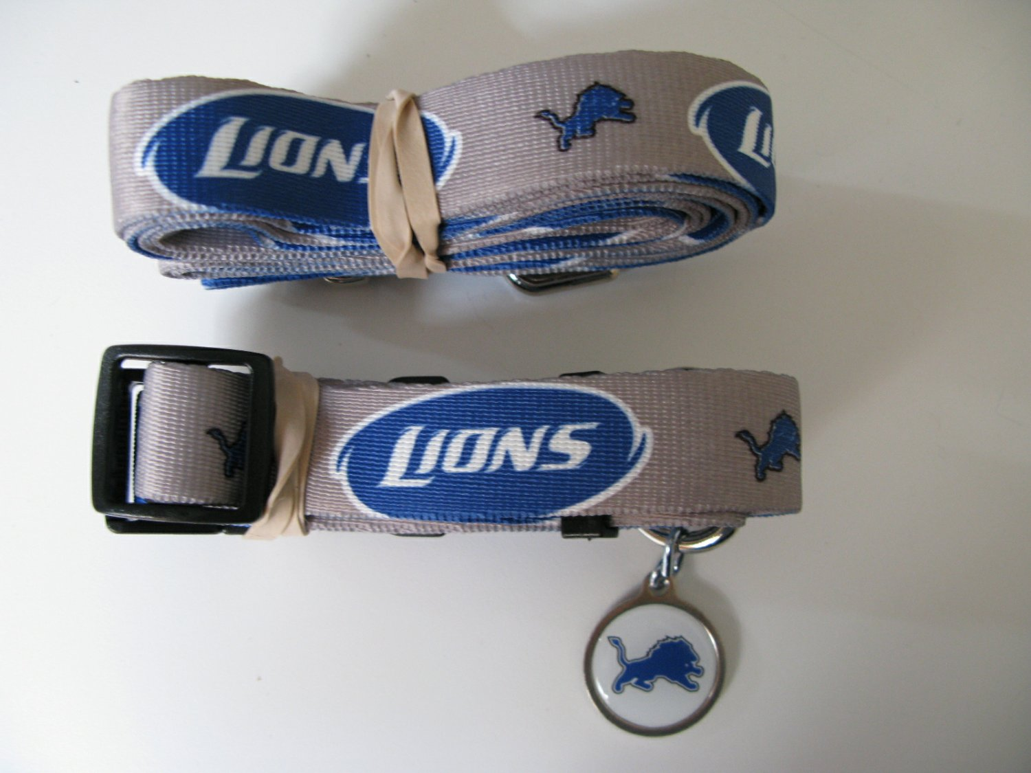 Detroit Lions Pet Dog Leash Set Collar ID Tag Size Large