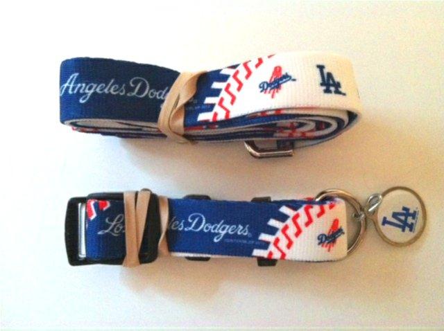 Los Angeles Dodgers Pet Dog Leash Set Collar ID Tag Large