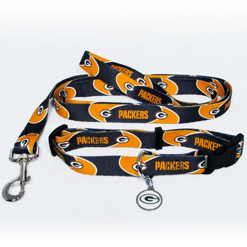 Green Bay Packers Pet Dog Leash Set Collar ID Tag Large