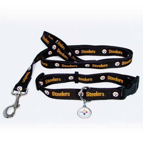 Pittsburgh Steelers Dog Pet Set Leash Collar ID Tag Large
