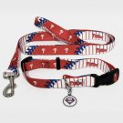 Philadelphia Phillies Pet Dog Leash Set Collar ID Tag Size Large