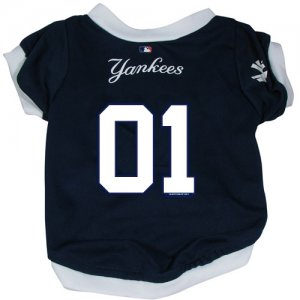New York Yankees Pet Dog Baseball Jersey w/Buttons Large