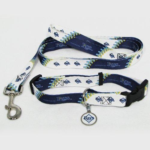 Tampa Bay Rays Pet Dog Leash Set Collar ID Tag Medium