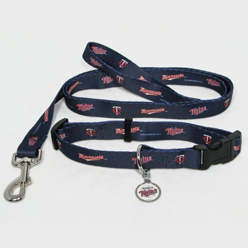 Minnesota Twins Pet Dog Leash Set Collar ID Tag Medium