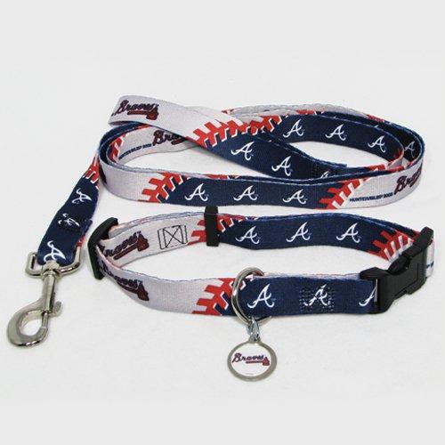 Atlanta Braves Pet Dog Leash Set Collar ID Tag Large