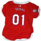Texas Rangers Pet Dog Baseball Jersey w/Buttons Large