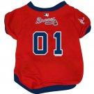 Atlanta Braves Pet Dog Baseball Jersey w/Buttons Large