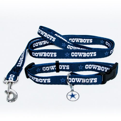 Dallas Cowboys Pet Dog Leash Set Collar ID Tag Medium
