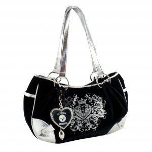 Pittsburgh Steelers Luxe Velour Hobo Purse w/ Crystals