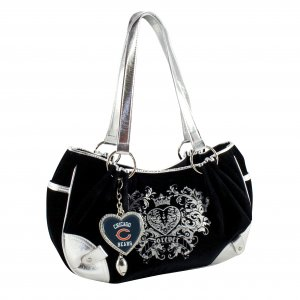 Chicago Bears Luxe Velour Hobo Purse w/ Crystals