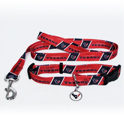 Houston Texans Pet Dog Leash Set Collar ID Tag Large